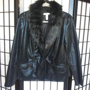 Chico Black Jacket Faux Fur Size Large